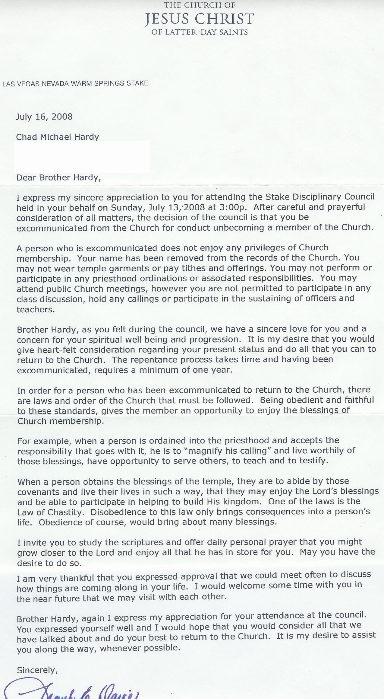 Excommunication Letter From The Lds Church  Open Shirts Open Minds