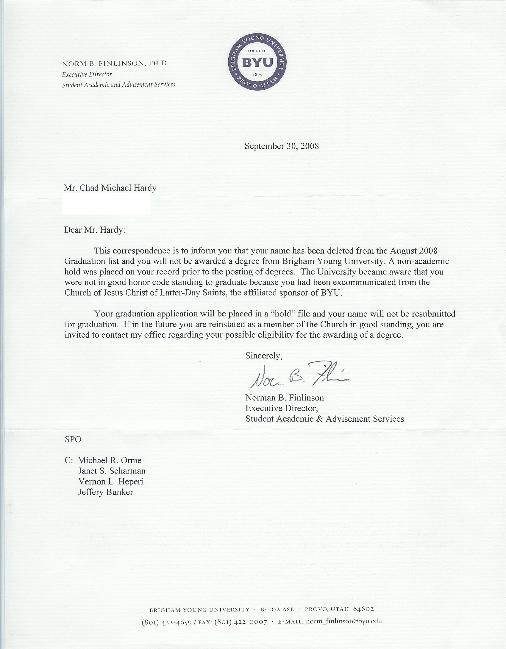 Graduation Deletion Letter from BYU | Open Shirts, Open Minds